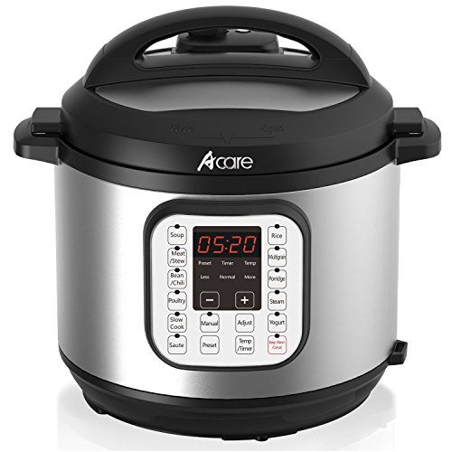 Electric Pressure Cooker, Acare 6 Qt 7-in-1 Programmable Multi-Cooker, Slow Cooker, Rice Cooker, Steamer, Yogurt Maker and Warming Pot, 1000W, Stainless Steel