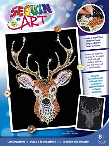 Sequin Art 1933 Stag Head Craft Kit From The Blue Range 28 x 37 cm