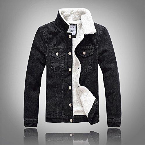 Plus Cashmere Camicia Jeans Denim Coreano Nero Sottile Ispessimento Giacca Invernale Di Uomini E Velluto, Xl