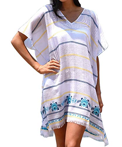 VYNCS Womens Casual Chiffon Tassel Stylish Kaftan Bikini Swimsuit Cover Up (Blue - ()