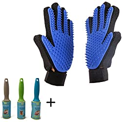 VALUE PACK Pet Grooming Glove for Dog Cat + 2 Lint Rollers