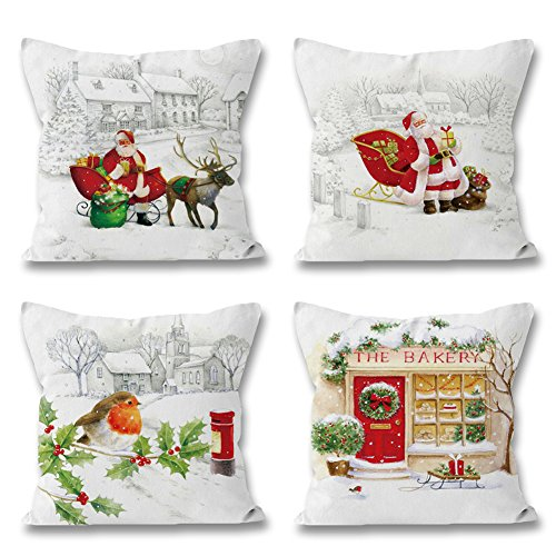 Christmas Cushion Covers Set of 4 18 x 18 inch, Winter Snow Scence Santa Claus Throw Pillow-case for Home Bed Sofa Couch Decoration by BOYON