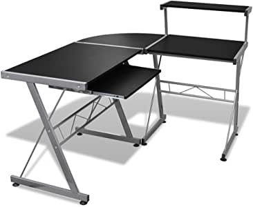 vidaXL Desk Corner Workstation with Pull Out Keyboard Tray Black Office Study