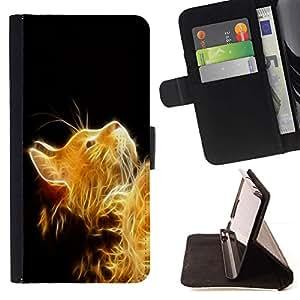 Momo Phone Case / Flip Funda de Cuero Case Cover - Gato Fuego Jengibre amarillo peludo magia mítica - LG G2 D800