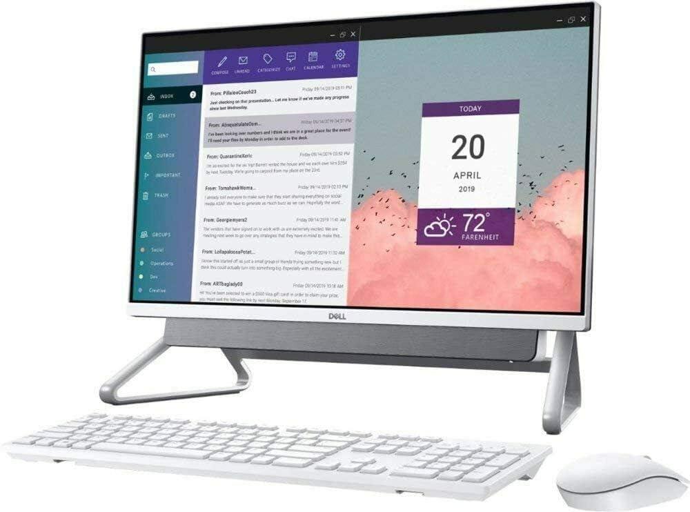 """Dell Inspiron 24-5490 All-in-One Desktop, 23.8"""" Full-HD (1920 x 1080), Touchscreen, Intel Core 10th Gen i5-10210U, 12GB (+ 1x4GB) RAM, 256GB SSD + 1TB Hard Drive, Windows 10 (Renewed)"""