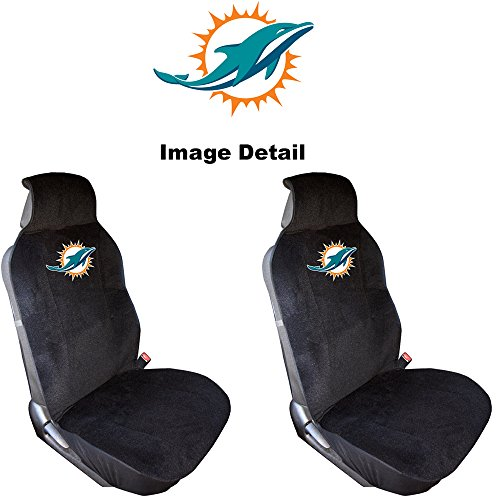Miami Dolphins NFL Sports Team Logo Auto Car Truck SUV Vehicle Universal-fit Front Low Back Bucket Seat Covers - PAIR