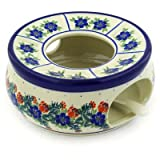 Polish Pottery Heater with Candle Holder 8-inch Polish Wreath