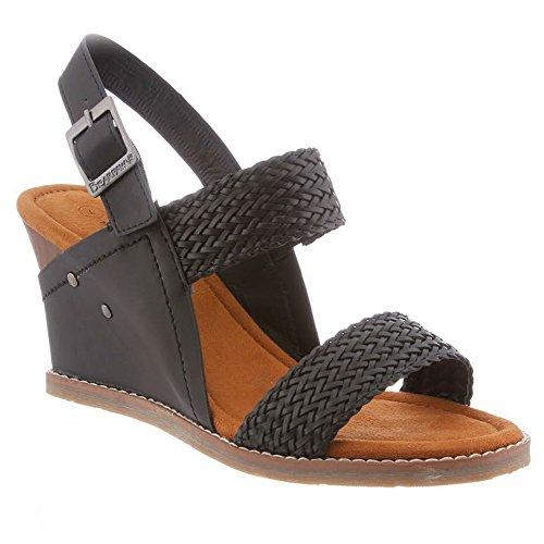 Bearpaw Women's Racquel Comfort Slingback Wedge Sandals, Black, 8 M