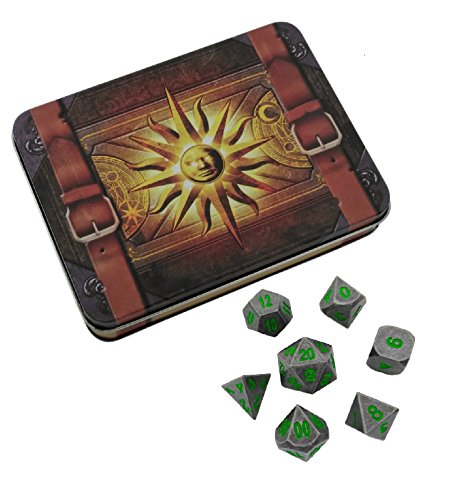 Skull Splitter Dice - Cleric's Prayer Book with Rackne's Curse | Gunmetal Gray with Green Numbers Metal Dice - Solid Metal Polyhedral Role Playing Game (RPG) Dice Set (7 Die - Green Gunmetal