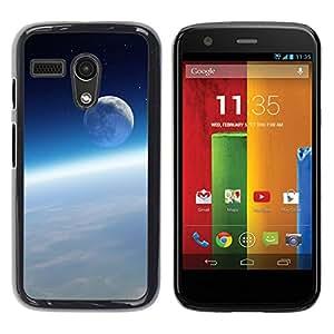 PC/Aluminum Funda Carcasa protectora para Motorola Moto G 1 1ST Gen I X1032 Space Moon Earth Atmosphere Blue Sky / JUSTGO PHONE PROTECTOR