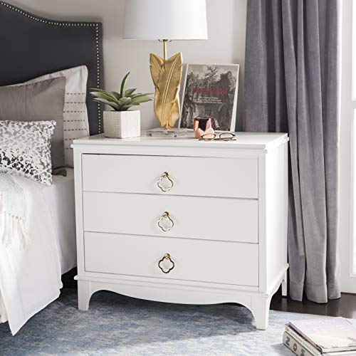 Safavieh FOX6306A Home Collection Hannon 3 Drawer Contemporary Nightstand, White/Brass