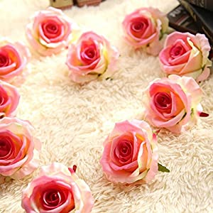 "Artificial Fake Flowers Silk 4"" 2.2"" Big Roses Heads Flower Arrangements Real Touch Flannel Wedding Decorations Floral Table Centerpieces for Home Kitchen Garden Party Décor (10 PCS, Pink) 3"