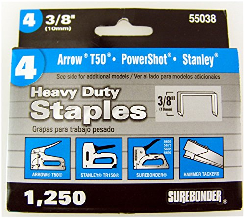 Surebonder 55038 Heavy Duty 3/8-Inch Length Staples, Arrow T50 Type, 1250 - Ht50p Arrow Hammer Stapler