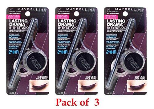 Maybelline New York Eye Studio Lasting Drama Gel Eyeliner, 247 Purple Velvet- 0.106 Ounce (Pack of 3)