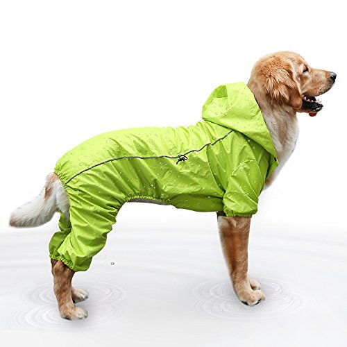 EVELOVE Dog Rain Jacket Four-Legged Dog Raincoat Waterproof Clothes Hood Poncho with Safe Reflective Stripes for Small Medium Large Pet (XL, Green)