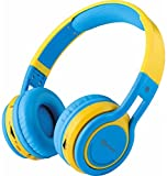 Contixo KB-2600 Kid Safe 85dB Over the Ear Foldable Wireless Bluetooth Headphone with Volume Limiter, Built-in Micro Phone, Micro SD Card Music Player, FM Stereo Radio, Blue/Yellow