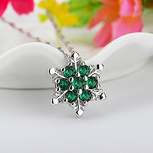 Gbell Clearance ! Christmas Chic Snowflake Pendant Necklace for Girls Women Fine Rhinestone Crystal Party Xmas Elegant Necklace Jewelry Bitthday Gifts (Green) for $<!--$1.69-->