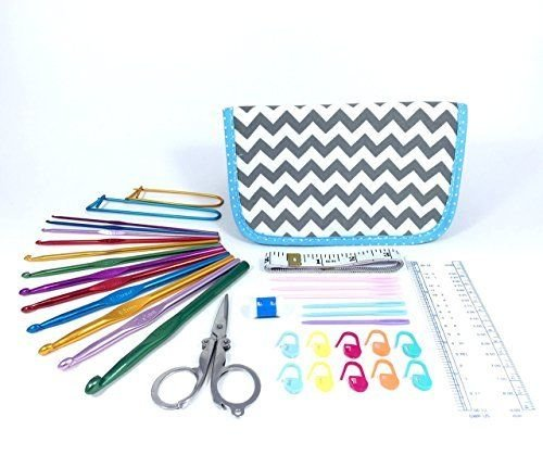 TenderHeart Shop Crochet Kit with Hook Set, Stitch Markers, Scissors, Yarn Needles, Measuring Tape, Safety Pins, Ruler, Gauge Measure and Row Counter, Grey Chevron Pattern