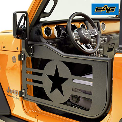 EAG Military Tubular Door with Reflection Mirror Fit for 2018 2019 Jeep Wrangler JL 2 ()