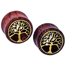 """D&M Jewelry 0g-3/4"""" Tree of Life Pair of Ear Tunnel Plugs Expander Gauges"""