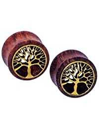 "D&M Jewelry 0g-3/4"" Tree of Life Pair of Ear Tunnel Plugs Expander Gauges"
