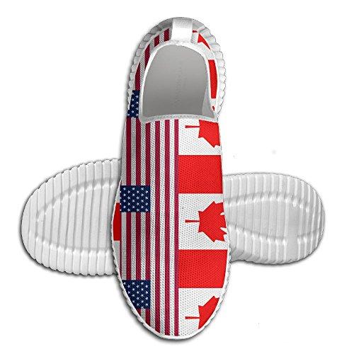Ägg Ägg Usa Kanada Flagga Kvinna Man Loafers Löparskor Andas Mesh Utomhus Sport Promenadskor Vita