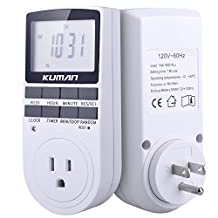 Kuman 15A/1800W 24-Hour Digital Timer Socket , 7-Day Digital Programmable Timer Switch with 3-prong Outlet for Lights and Appliances with LCD Display