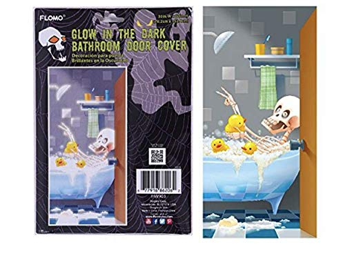 Halloween Bathroom Door Cover - Glow in The Dark Skeleton Taking a Bubble Bath