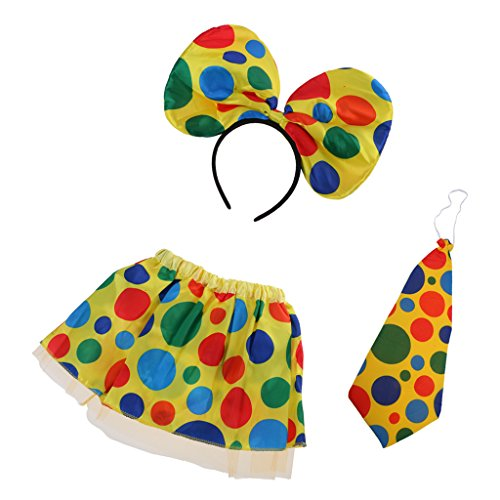 Polka Dot Circus Costume (Dovewill Halloween Polka Dot Clown Circus Circus Skirt Necktie Headband Costume Set Carnival Christmas Women Girls Fancy Dress Props)