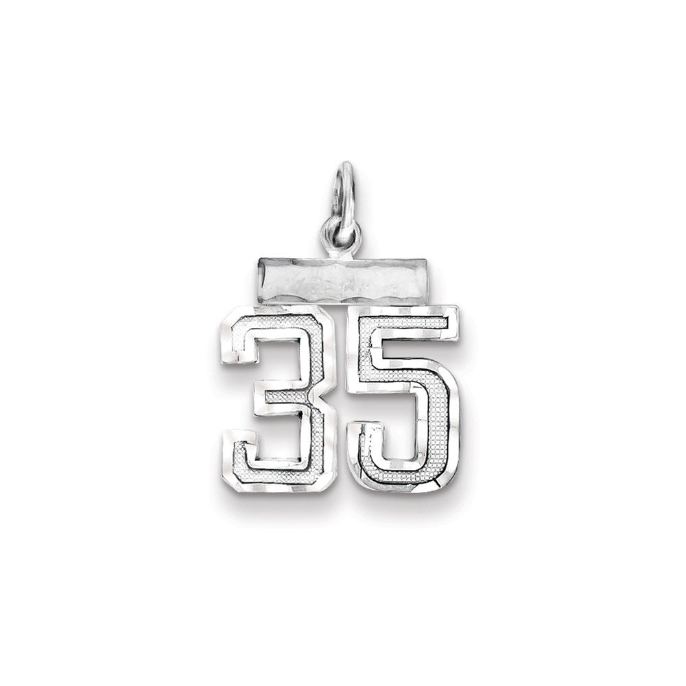 925 Sterling Silver Small #35 Charm and Pendant