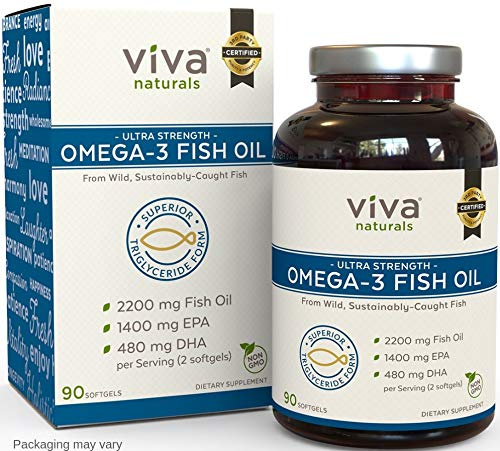 Viva Naturals Fish Oil Supplement, 90 Capsules - Highly Concentrated Fish Oil, 2,200mg Fish Oil/serving (1400mg of EPA & 480 mg of DHA)