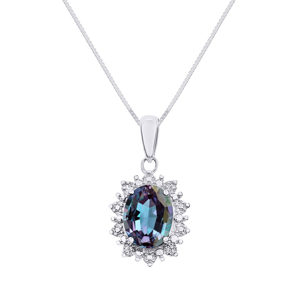 Diamond & Simulated Alexandrite Pendant Necklace Set In Sterling Silver .925 with 18'' Chain - Princess Diana Inspired Halo Designer Style by Rylos