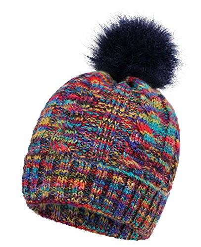EPGU Women's Ultra-Soft Faux Fur Pompom Multicolor Knit Winter Beanie