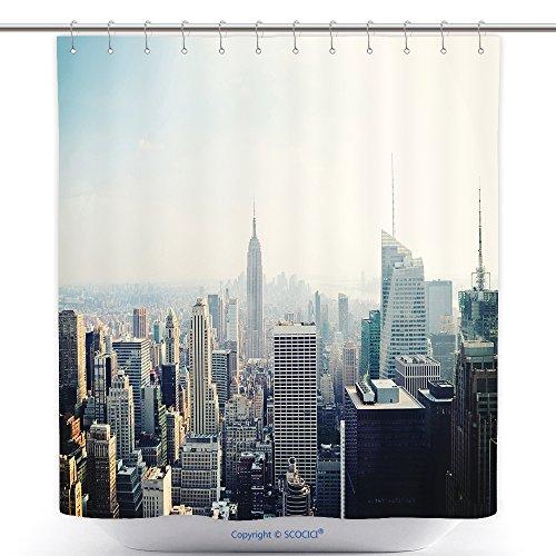 vanfan-Polyester Shower Curtains New York City Manhattan Skyline Aerial View Empire State Building in The Fog Polyester Bathroom Shower Curtain Set Hooks(72 x 72 inches)