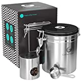 whole bean coffee container - Coffee Gator Stainless Steel Container - Canister with co2 Valve, Scoop, eBook and Travel Jar – Medium, Silver