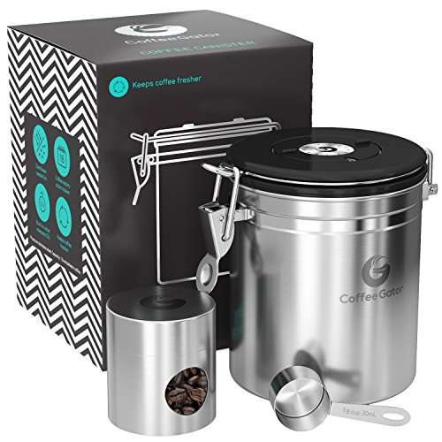 Coffee Gator Stainless Steel Container - Canister with co2 Valve, Scoop, eBook and Travel Jar – Medium, Silver (Gooseneck Vent)