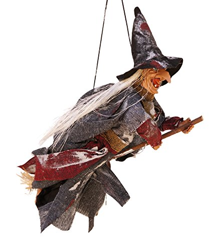 Flying Beldame on Broomstick Animated LED Hanging Halloween Decoration (Gray)