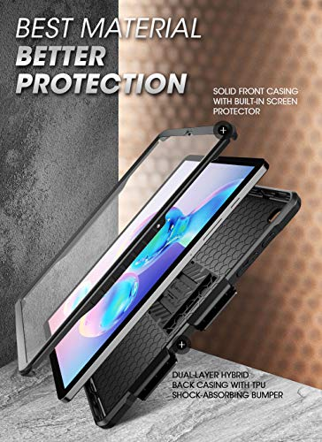 SupCase UB Pro Series Case for Galaxy Tab S6 Lite, with Built-in Screen Protector Full-Body Rugged Kickstand Protective Case for Galaxy Tab S6 Lite 10.4 Inch Model SM-P610/P615 2020 Release (Black)