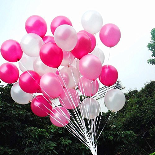 Light Pink And Dark Pink 100 Count SUNRISE PRODUCTION White 12 3.2 Helium Quality Pearl Latex Balloons