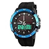Bounabay Men's Solar Power Military Dual Time Zones Slide Rule Silicone Band Sports Watch, 5ATM Waterproof