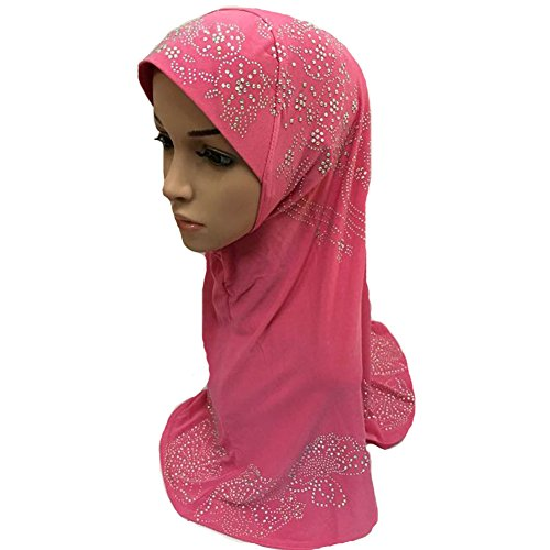 Muslim Islamic Hijab Scarf Woman Amira Cap with Fashion Beautiful Rhinestone Rose Red
