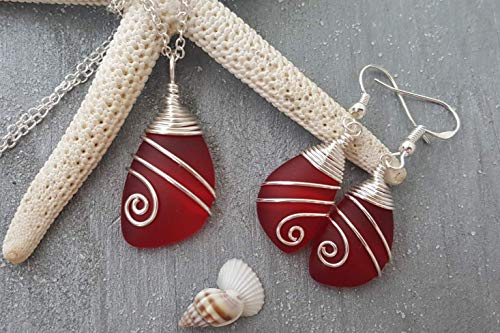 (Handmade in Hawaii,Top Wire Wrapped Ruby Red