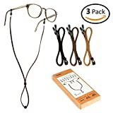 Image of Holdie Eyeglass Strap - Classic PU Leather Non-Slip Eyewear Retainer [Pack of 3] - Glasses Holder - Eyeglasses Cord - Fits and Grips Most Eyewear - Never Forget your Glasses Again