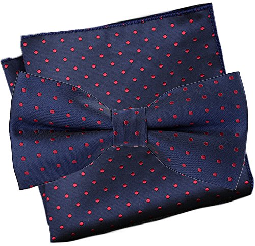 Flairs New York Polka Dots Collection Bow Tie & Pocket Square Matching Set (Prussian Blue / Red Wine [Polka Dots]) ()