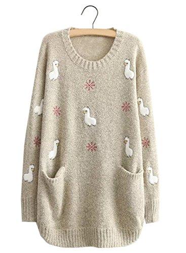 Futurino Alpaca and Snowflake Pattern Slit Pockets Pullover Sweater Mini Dress (Sweater Snowflake Dress)