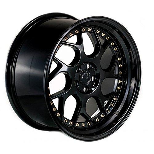 (Aodhan Wheels DS-01: 18x9.5, 5x114.3, 73.1, 22, (Gloss Black W/Gold Rivets))