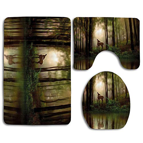 EnmindonglJHO Nature Baby Deer in The Forest Reflection on Lake Foggy Woodland Graphic Fern Green Cocoa Brown 3pcs Set Rugs Skidproof Toilet Seat Cover Bath Mat Lid Cover Cushions Pads (Brown Ferns Rug)