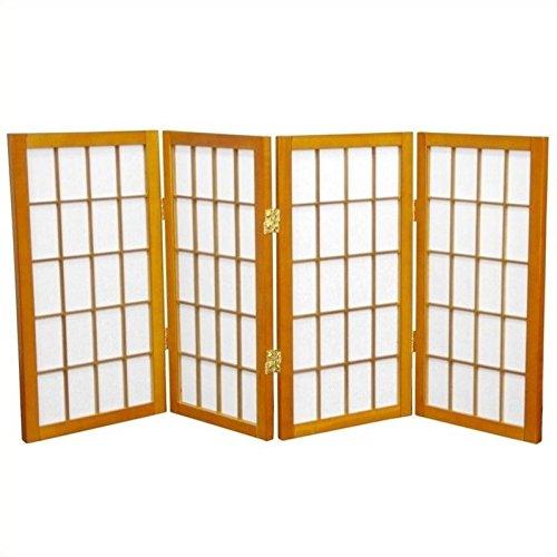 Oriental Furniture Extra Short Japanese Shades Blinds 2 Feet 24 Inch Tall Window Pane Shoji Privacy Screen Room Divider 4 Panel Honey