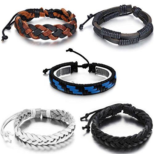 Aroncent 5pcs Mens Womens Leather Bracelet, Surfer Wrap Bangle, Fit 8-9 Inch Wrist
