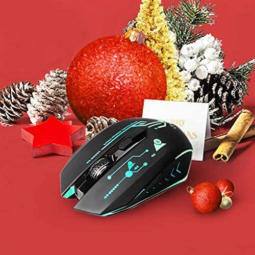 UHURU Wireless Gaming Mouse Rechargeable, Up to 4800DPI, 6 Programmable Button, 7 Color Changeable, 2.4G RGB USB Wireless Gaming Mouse for Computer, Laptop, Mac, PC